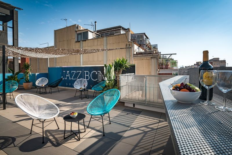 Terraza. Holiday lettings apartment in carrer industria in Barcelona