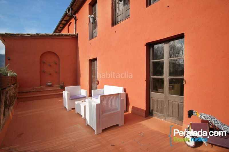 Terraza. House with fireplace heating parking in Mieres