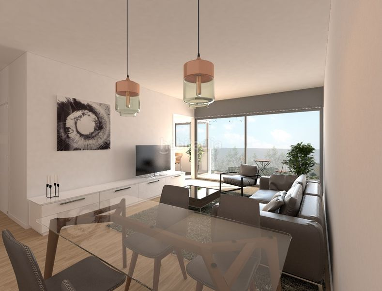 Salón. Development Sol i Padris in Sabadell. Homes of new buildings