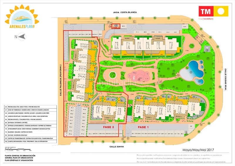Plano del residencial Arenales Playa 9. Apartment 113m<sup>2</sup> with heating parking pool in L´Altet Elche / Elx